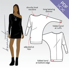 XS-XL Mini dress with kimono sleeves and slouch neckline (PDF sewing pattern for jersey)