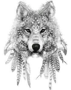Wolf face, tribal patterns Más