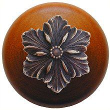 Opulent Flower Wood Knob in Antique Solid Bronze/Cherry wood finish…
