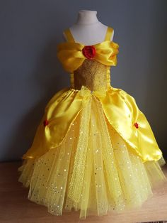 Belle tutu dress yellow princess dress birthday outfit party dress pageant tutu beauty costume Easter gift princess fancy dress beauty and the beast party Belle Tutu, Belle Dress Kids, Beauty And The Beast Dress, Princess Fancy Dress, Princess Belle, Baby Dress, Dress Up, Halloween Disfraces, Girls Dresses