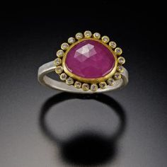 Pink Sapphire Ring with Diamond Halo | Ananda Khalsa Jewelry