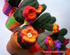 Teje que te teje: cactus crochet macetas