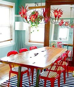 Turquoise walls & Red Chairs The walls. I love these walls