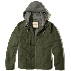 Hollister Hoodie Twill Trucker Jacket ($100) ❤ liked on Polyvore featuring men's fashion, men's clothing, men's outerwear, men's jackets, outerwear, coats, men, olive, mens olive green jacket and mens trucker jacket