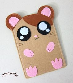 """Felt Kindle Case - Kindle 3 Cover - Kindle Fire Case - Kindle Touch Cover - Nook Case - Kindle Felt Sleeve - """" Cute Hamster """" Design. $35.00, via Etsy."""
