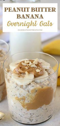 Peanut Butter Banana Overnight Oats - No-bake recipe for oats flavored with peanut butter, bananas and maple syrup. Make-ahead recipe for busy mornings. Peanut Butter Banana Oats, Peanut Butter Overnight Oats, Peanut Butter Recipes, Oats Recipes, Banana Recipes No Bake, Vegan Recipes, Avocado Recipes, Sausage Recipes, Steak Recipes