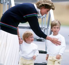Princess Diana with Princes Harry and William