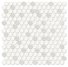 MBR floor tile Penny Round Mist Porcelain Floor Tile - The Tile Shop Penny Tile Floors, Bathroom Floor Tiles, Wall And Floor Tiles, Basement Bathroom, Hall Bathroom, Bathroom Remodeling, White Bathroom, Master Bathroom, Bathroom Ideas