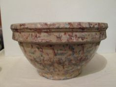 Antique Red Wing Stoneware Spongeware Mixing Bowl 9"