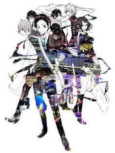 Masaomi, Shinra, Mikado, Izaya, Shizuo and Anri (and maybe also Celty somewhere, I can see her shadows)