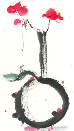 "Sumi-e inspired by the poster of the play ""Secret Love in Peach Blossom Land. Sumi ink and color on single xuan. Sumi-e: Falling into Love Japanese Watercolor, Japanese Painting, Chinese Painting, Watercolor And Ink, Japanese Art, Sumi Ink, China Art, Zen Art, Painting & Drawing"