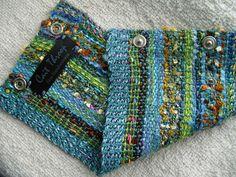 Handwoven Cuff Fabric Bracelet Sea Breeze от barefootweaver