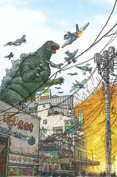 Godzilla by Geof Darrow; colors by Peter Doherty