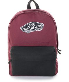 Update your Back to School look with some two-tone styling in the Realm Burgundy & Black Colorblock by Vans. Made with a durable cotton canvas construction, this mid size backpack comes fully equipped with a large size main compartment, zipper closures an