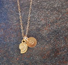 Nautilus Shell Necklace, Initial Necklace, Kappa Delta Necklace, Adriana. $34.00, via Etsy.