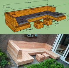 Outdoor Furniture Plans, Backyard Furniture, Backyard Projects, Outdoor Projects, Backyard Seating, Garden Seating, Diy Deck, Diy Patio, Patio Deck Designs