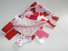Silky Satin Pink Hearts and Minky Pink Dot Ribbon Tab Sensory Blanket for Baby. Has Ribbon Tags for play and chewing/ Teether Toy.