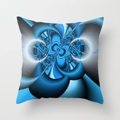 Silver and blue fractal Throw Pillow by Christy Leigh - $20.00