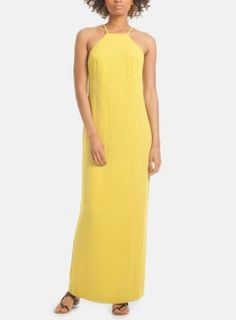 Perfect for a dinner party. Bold yellow crepe maxi dress.