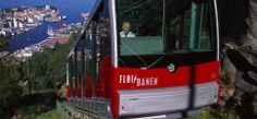 Funicular (Fløibanen) from Bergen city center to the top of Mt. Fløyen, in 5-8 minutes. The lower station is located near the Fisketorget fish market & the Bryggen.  At the top of Mount Fløyen, ,enjoy a spectacular view of the city & surrounding fjords.   Operates every day of the year, from early in the morning until midnight in the summer &11pm in the autumn, winter & spring.
