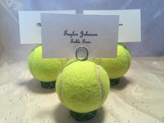 Tennis Ball Place Card Holders Table # Holders Menu Holders Favor Wedding Tennis Awards Dinner Tennis Even Ball Place Card Holders Table # Holders Menu Holders Favor Wedding Tennis Awards Dinner Tennis Event Tennis Camp, Tennis Rules, Tennis Party, Tennis Table, Tennis Gear, Tennis Ball Crafts, Tennis Decorations, Wedding Decorations, How To Play Tennis
