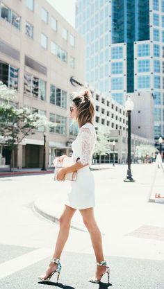 Summer white and statement heels