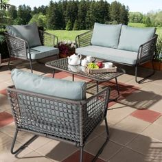 b92f0f1b8cd Baxton Studio Emil Modern and Contemporary Sky Blue Fabric Upholstered and  Grey Rattan Outdoor Patio Lounge Set - Blue
