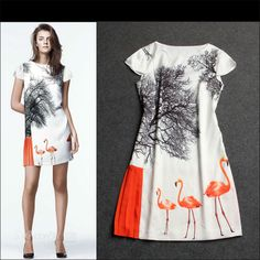 Free Shipping Summer 2014 Red-crowned Cranes Printed Dress 140508YY05 $58.50
