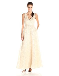 ERIN erin fetherston Womens Gwendolyn Gold Metallic Floral Gown GoldIvory 4 * Continue to the product at the image link.