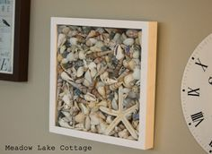 Shell (or rock) Shadow Box, I will be doing this, our living room at the moment its nautical and I have a bunch of shells from Florida when we went.