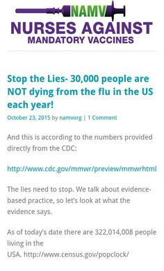 {Stop the Lies- 30,000 people are NOT dying from the flu in the US each year!}