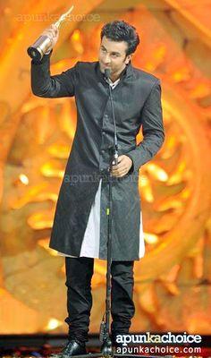 Ranbir Kapoor in Black Sherwani.