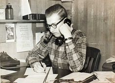 Robert Abrams, founder of the Levittown Tribune, in the paper's office. (1949) Photo Credit: Newsday File