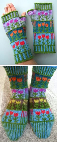 Stricken Free Knitting Patterns for Stripes and Tulips Mitts or Socks - Colorful fingerle., gestreift Stricken Free Knitting Patterns for Stripes and Tulips Mitts or Socks - Colorful fingerle. Crochet Gloves Pattern, Crochet Socks, Baby Knitting Patterns, Loom Knitting, Knitting Stitches, Free Knitting, Knitted Hats, Crochet Patterns, Knitting Socks