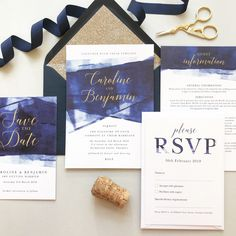 Navy blue and gold, script wedding invitations and save the dates from the Grace wedding stationery collection by Project Pretty Gold Wedding Theme, Gold Wedding Invitations, Wedding Stationary, Wedding Colors, Navy Gold, Navy Blue, Stationery Design, Paper Goods, Fun Projects