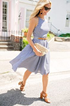 Perfect Gingham Dress with a Straw Clutch