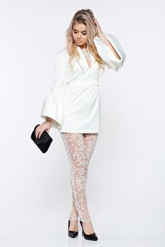 Ana Radu occasional from satin white set with bell sleeve, net, bell sleeve, satin fabric texture