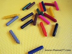 Have your child color with broken crayons to promote correct grasp. This post has 30 OT life hacks designed to make life easier for kids and their grown ups! #OTlifehack