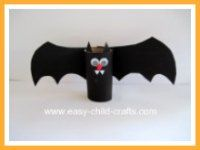 easy kids craft: halloween bat - also a black cat and other fun ones on this site.