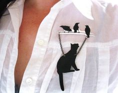 Animal Brooch Black Cat and Ravens Pet Lover Silhouette Art Gift Unique  $28