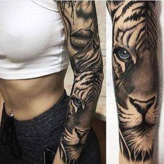 Tatouage femme Tigre Réaliste sur Bras
