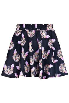 Cat Graphic Pleated Skirt - OASAP.com
