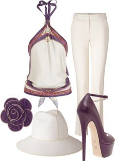 """Purple And Cream"" by konata-glamdoll ❤ liked on Polyvore"