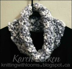 Knitting With Looms: Cozy Cowl- The loom used was the largest (yellow) Knifty Knitter, and the 'Lacy Diamond Stitch' which is essentially a figure 8 stitch. It was knit in the round and continued around until just enough yarn left to cast off.