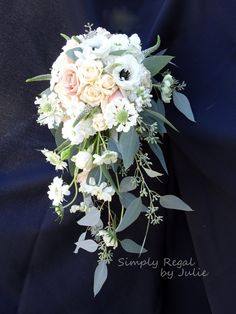 Small garden cascade bridal bouquet in blush tones - Simply Regal by Julie