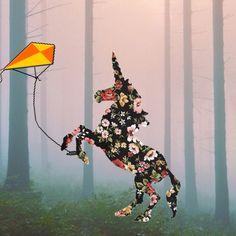 Unicorn flying a kite by Greta Beautiful Butterflies, Beautiful Children, Kite, Unicorn, Campaign, Congratulations, Clouds, Creative, Beautiful Kids