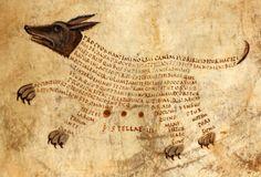 constellation Anticanis (Canis Minor, lesser dog)Cicero's Aratea with Hyginus's Astronomica, Reims(?) ca. 820-850. British Library, Harley 647, fol. 13r