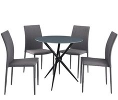 Modern 5 pieces dining table set glass top dining table and chairs set for 4 personblack. Dining room furniture white table 4 black upholstered side chairs metal legs. Modern Round Tempered Glass Dining Table With 4 Chairs Set For Dining Room Furniture Buy Round Dining Table Set Glass Dining Table Set Modern Dining 5 Pcs […]