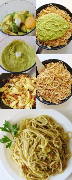 Carbonara con aguacate y calabacín - Nudeln Rezepte Aufläufe Sossen - Healthy Pasta Recipes, Veggie Recipes, Mexican Food Recipes, Real Food Recipes, Vegetarian Recipes, Cooking Recipes, Yummy Food, Spaghetti, Easy Meals