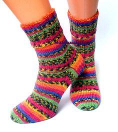 Rainbow Hand knitted Socks Womens Socks Stylish Socks